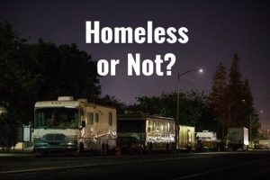 Line of RVs vans and trucks on street with text over image reading Homeless or Not