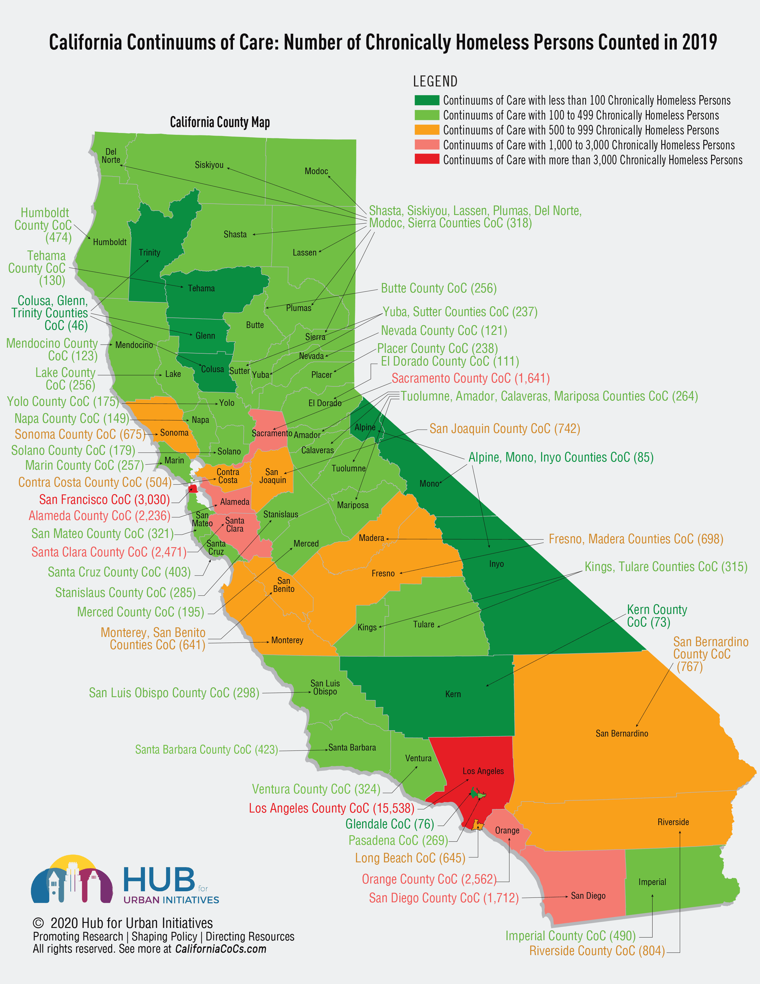 Map of California showing total number of persons counted as chronically homeless in 2019 in each of the 44 Continuums of Care